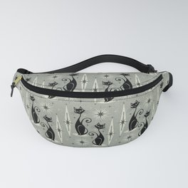 Mid Century Meow Retro Atomic Cats - Gray Fanny Pack