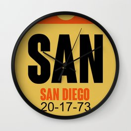 SAN San Diego Luggage Tag 1 Wall Clock