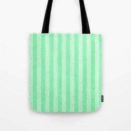 Lanai Lime Green - Acid Green Herringbone Pattern Tote Bag