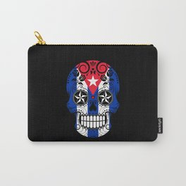 Sugar Skull with Roses and Flag of Cuba Carry-All Pouch