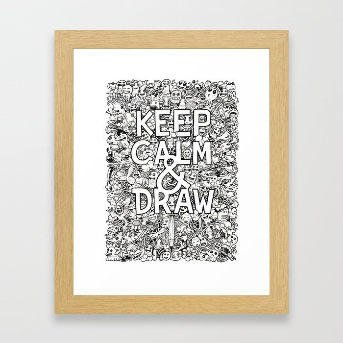 Keep Calm and Draw Framed Art Print