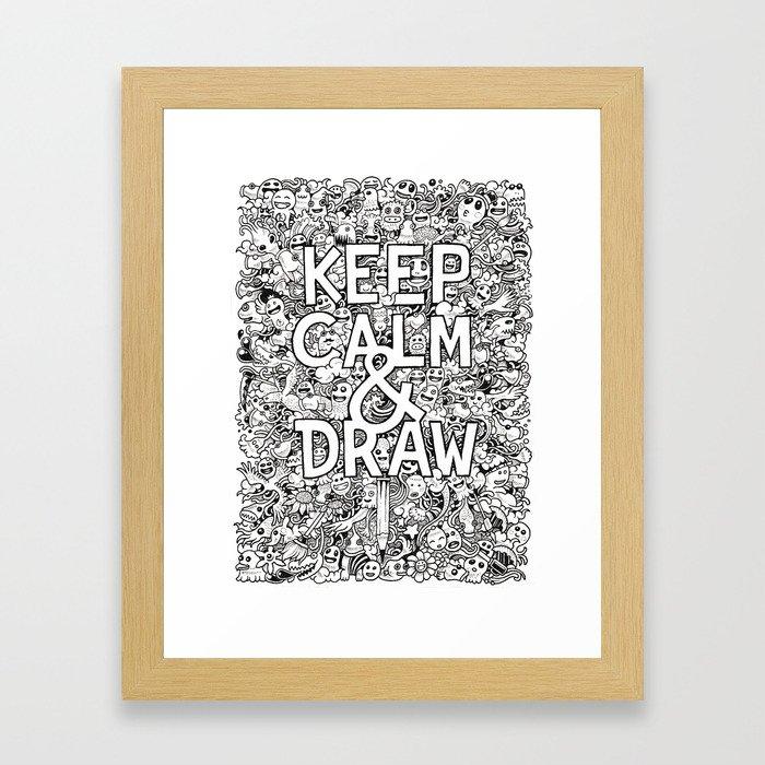 Keep Calm and Draw Framed Art Print
