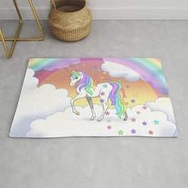 Pretty Rainbow Unicorn and Stars Rug