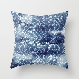 Indigo Batik Abstract Throw Pillow