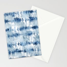 Modern hand painted dark blue tie dye batik watercolor Stationery Cards