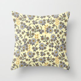 Golden floral with silver on beige Throw Pillow