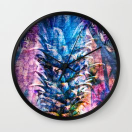 Stand Tall, Blue Pineapple Wall Clock