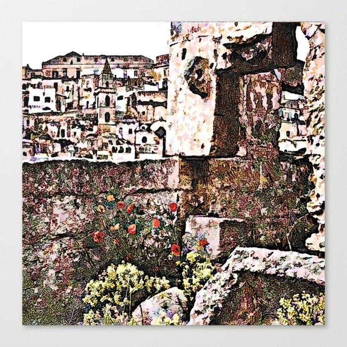 Sassi di Matera: stones and flowers Canvas Print
