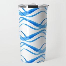 Wave ~ blue watercolor pattern Travel Mug