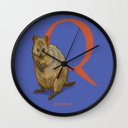 Q is for Quokka: Under Appreciated Animals™ ABC nursery decor blue unusual animals Wall Clock