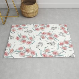 Roses and foliage muted colors watercolor pattern  Rug