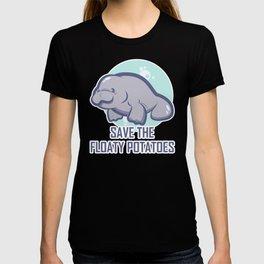 Manatee Retro Vintage Save The Floaty Potatoes design Gift T-shirt