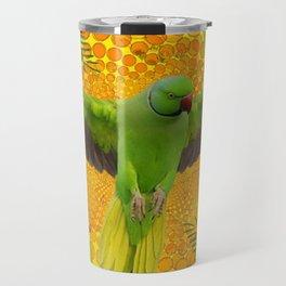 MAGNIFICENT GREEN PARROT GOLD JUNGLE MODERN ART Travel Mug