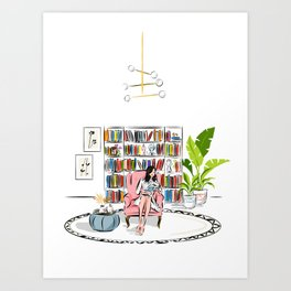 Woman reading Art Print