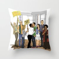 caleb troy Throw Pillows featuring Welcome Home Troy by Kivitasku Designs