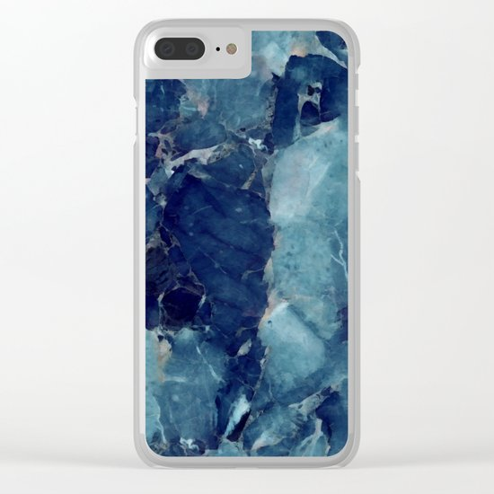 Blue marble texture Clear iPhone Case