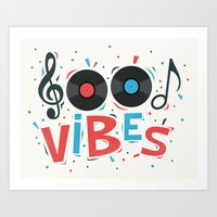 good vibes Art Prints featuring Good Vibes by Word Quirk