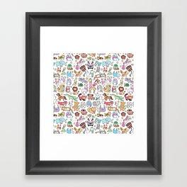 Winter Animals with Scarves Doodle Framed Art Print