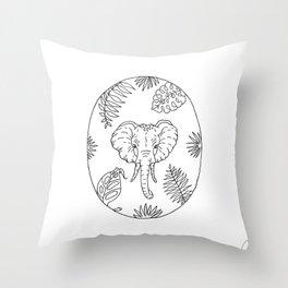 Elephant Botanical Tropical Plant Illustration Throw Pillow