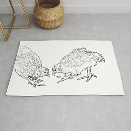 Two Chickens Pecking - Pen and Ink Rug