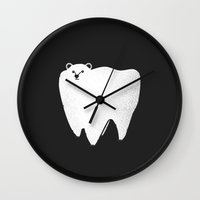 halo Wall Clocks featuring Molar Bear by Zach Terrell