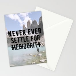 Motivational - Don't Settle For Mediocrity Quote Stationery Cards