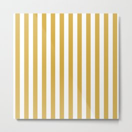 Large Mustard Yellow and White Cabana Tent Stripe Metal Print