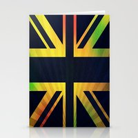 british flag Stationery Cards featuring RASTA BRITISH FLAG by shannon's art space