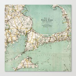 Cap Cod and Vicinity Map Canvas Print