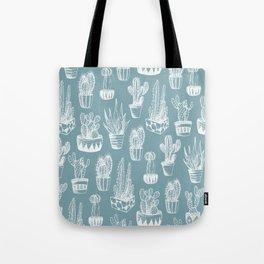 Cactus Pattern Teal Tote Bag