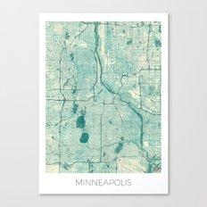 Minneapolis Map Blue Vintage Canvas Print