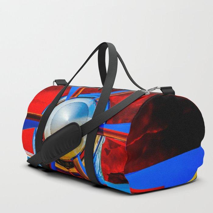 Blue Propeller Of A Modern Aircraft. Red Sky Duffle Bag