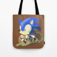 sonic Tote Bags featuring Sonic by Rod Perich