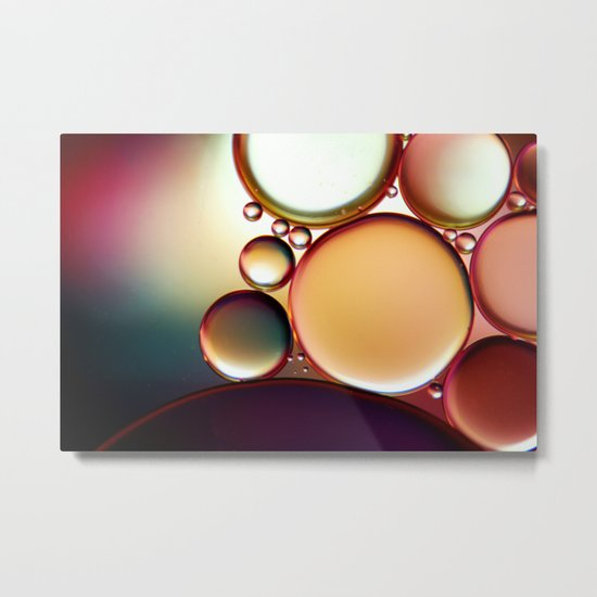 Oil On Water Colourful Metal Print
