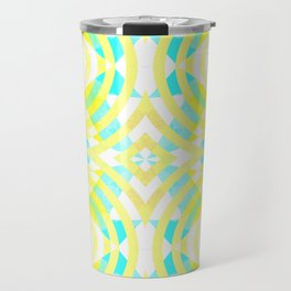 Funky geometry in yellow and blue Travel Mug
