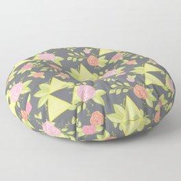 Garden of Power, Wisdom, and Courage Pattern in Grey Floor Pillow