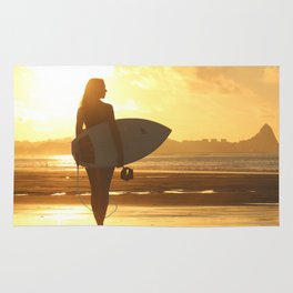 Surfer on the Beach (Woman) Rug