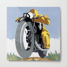 1925 FN Motorcycle Fabrique Nationale de Herstal Vintage Poster  Metal Print