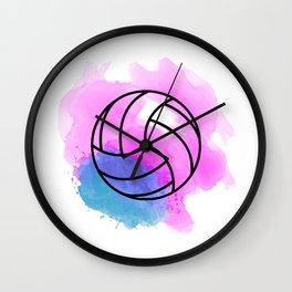 Volleyball Watercolor Wall Clock