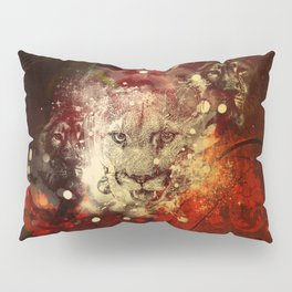 Awesome lion on vintage background Pillow Sham