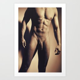 Man Naked showing his great muscular body Art Print