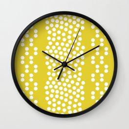 Mid-century citrine yellow retro border shapes Wall Clock