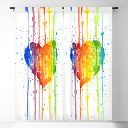 Rainbow Heart Watercolor Blackout Curtain