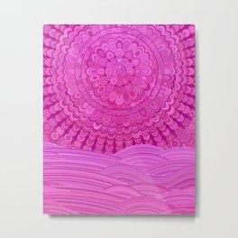 Hot Pink Ocean Mandala Metal Print
