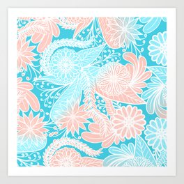 Artsy Summer Coral Aqua Hand Drawn Floral Pattern Art Print
