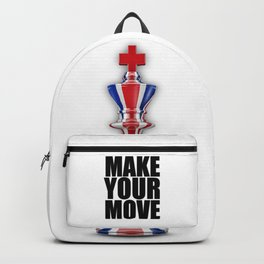 Make Your Move UK / 3D render of chess king with British flag Backpack