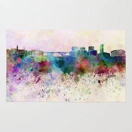 Luxembourg skyline in watercolor background Rug