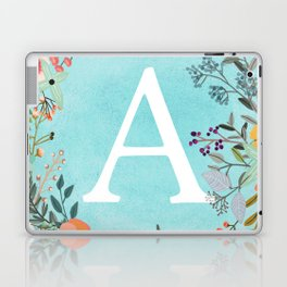 Personalized Monogram Initial Letter A Blue Watercolor Flower Wreath Artwork Laptop & iPad Skin