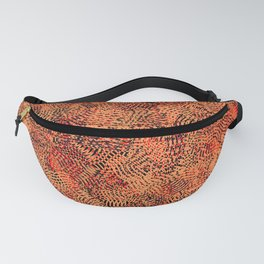 Red Living Coral Knitwear Background Pattern Fanny Pack