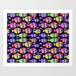 Colorful Fishes Pattern Design Art Print